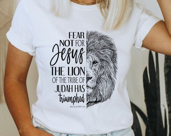 Lion of Judah T-Shirt | Christian Faith Tee | Unisex, Womens, Mens Cotton Shirt | Christian Gifts | Jesus Tshirt | Do Not Fear Bible Tshirt