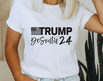 Trump Desantis 2024 T-Shirt | Republican Shirts for Unisex, Men, Women | Political Gifts | USA Patriotic Tee | America, Florida, President