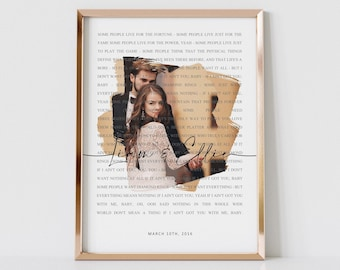 Custom Our Song With Photo Lyrics Wall Art Print | Personalized Modern Anniversary, Valentines, Wedding, Birthday Gift | Digital File