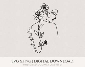 Daughter of the King svg, Woman Lineart Minimal Design, TShirt png, Wall Art, Cricut, Christian Quote, Commercial Use Digital Printable File