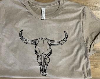 large pogo rodeo cow skull t shirt black