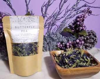 Butterfly Pea Flower Organic Herb | Loose Leaf Whole flowers | Smart Plant | Nootropic | MEMORY Booster | Collagen Building | Eye Health