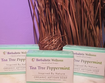 Tea Tree & Peppermint Artisan Soap, Handcrafted, All Natural, Vegan, Herbal Infused, Body Cleaner, Moisturizing Soap