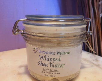 Whipped Shea Butter | 100% Organic Shea Butter | Herbalistic Infused | Vitamin  E Infused | Eco Friendly Glass Packaging