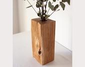 Handmade wooden vase made of split oak, square, oak, flower vase, naturally | decorative