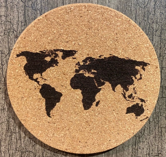 Coasters (Map World Country) Package of (4/6/8/10)