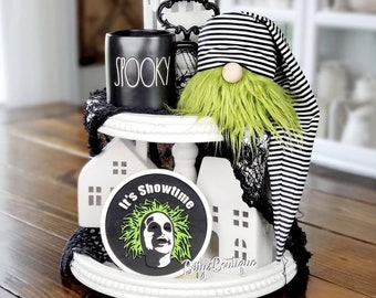 Beetlejuice gnome, Beetlejuice tiered tray sign, Halloween decor, coffee bar, green gnome,  spooky tray decorations, farmhouse sign
