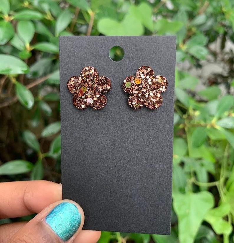 Flower Medium Stud Handcrafted Epoxy Resin Jewelry Earrings