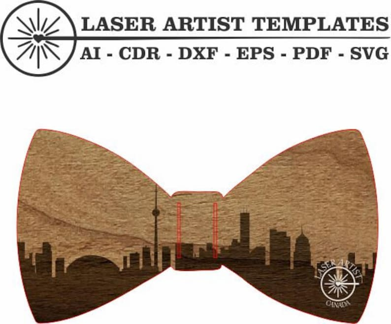 Epilog /& Trotec Bow Ties Love Toronto design Glowforge vector eps Digital Laser Cut Template pdf and svg decoration dxf ai cdr