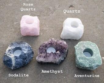 Crystal Candle Holder - Tea Light Holder - Amethyst Candle - Rose Quartz Candle - Hippie Decor - Zen Decor - Crystal Decor - Earthy Decor