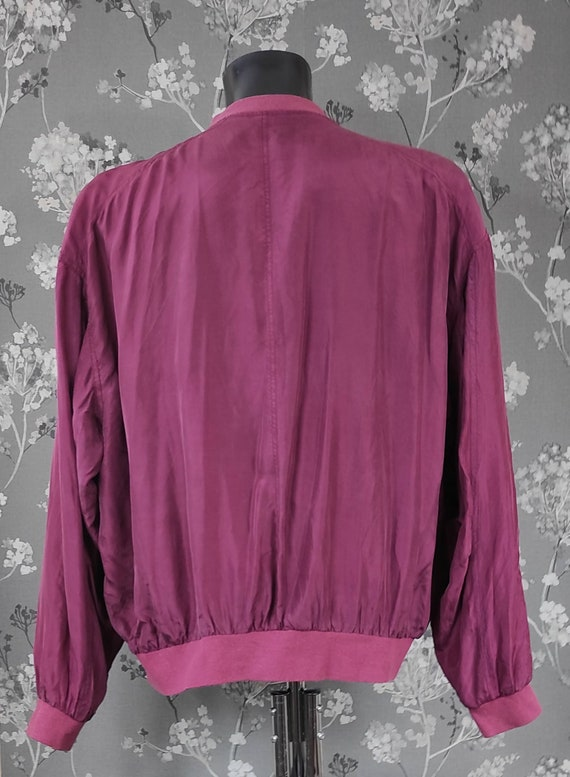 Vintage 90's pure silk bomber jacket wine red. Si… - image 4