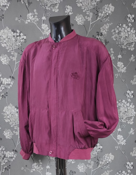 Vintage 90's pure silk bomber jacket wine red. Si… - image 2