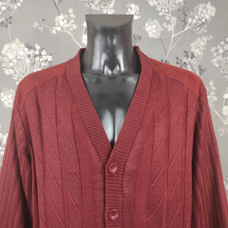 Roger Kent vintage knitted lined jacket wine red Size L-XL