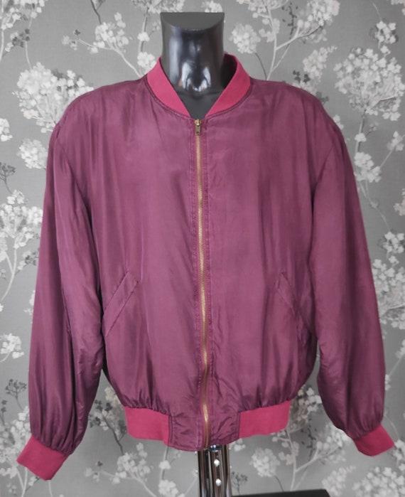 Vintage 90's pure silk bomber jacket wine red. Siz