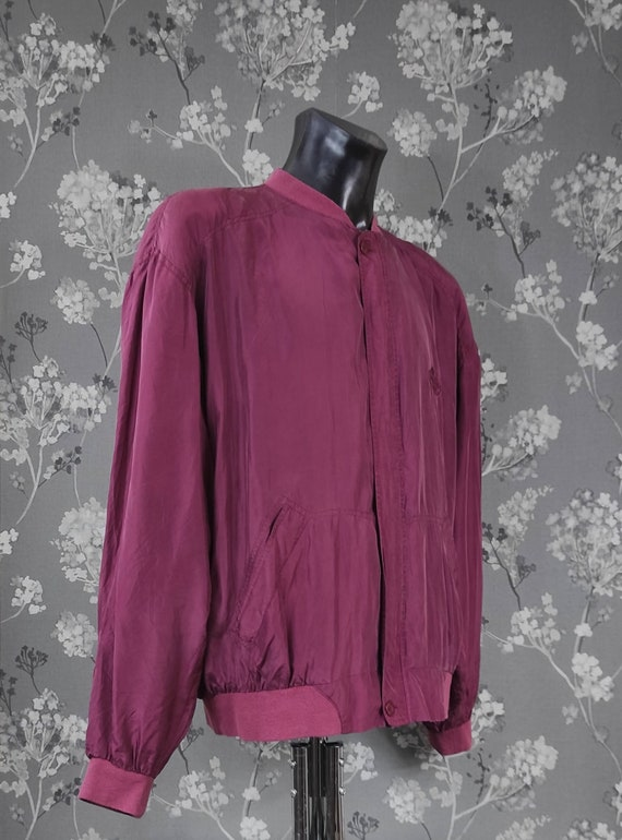 Vintage 90's pure silk bomber jacket wine red. Si… - image 3