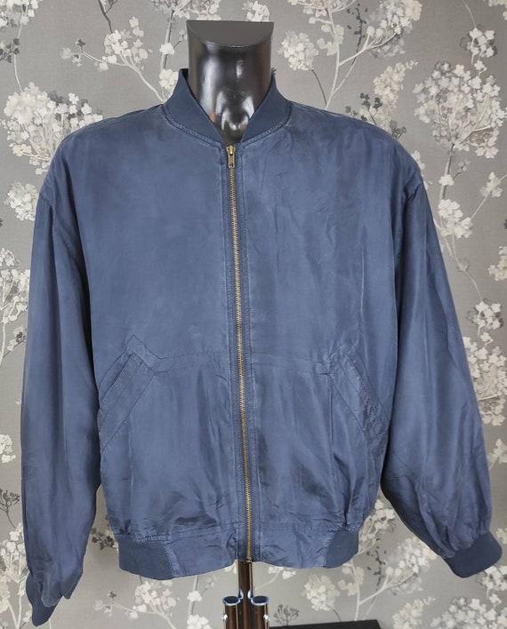 Vintage 90's pure silk bomber jacket navy blue. Si