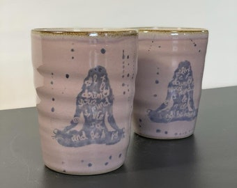 Handmade ceramic cup with yoga motif: Asana Padmasana, as a drinking vessel for tea or coffee, approx. 12 cm high