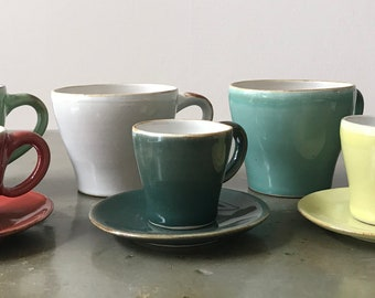 handmade espresso cups with plate in 10 different colors, espresso deck
