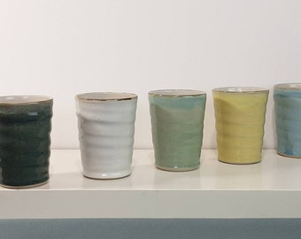 handmade ceramic cups turned on the potter's wheel for all kinds of drinks can also be used as a simple cup vase, in 5 colors