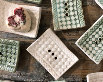 Handmade ceramic soap dishes in cream, sage paint or combined.  10 cm x 7.5 cm