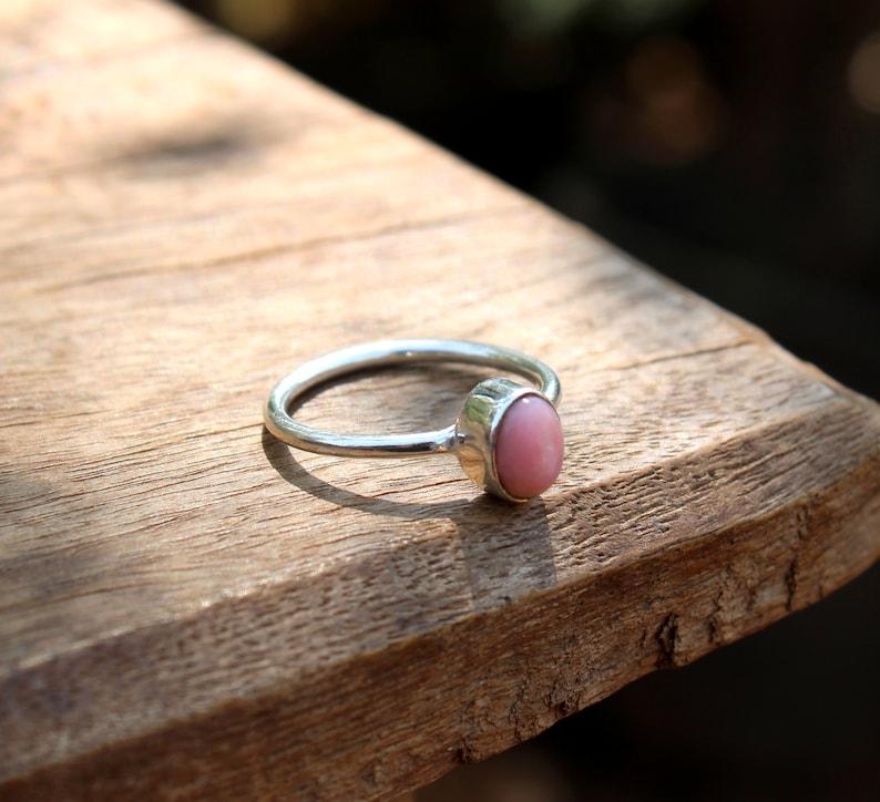 Gemstone Ring October Birthstone Ring Handmade Birthstone Ring Fine Jewelry Pink Opal Ring Gift Opal Gemstone Stacking Ring