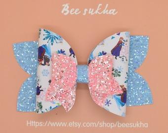 Frozen hairband Olaf headband bow Elsa Bow Anna Bow Sisters Bow Disney Princess bow glitter bow adorable bow girls birthday favor gift cute