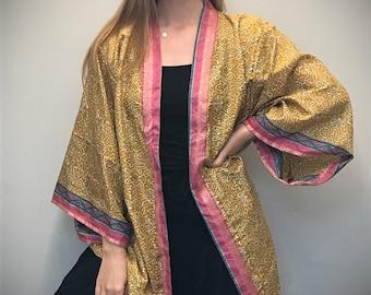 Recycled Fabric Patchwork Belted Kimono Wrap Floriana Women/'s Silk Saris Robe