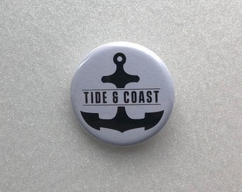 Anchor 1 Inch 25mm Pin Button Badge Retro Sailor Sailing Seas Oceans Nautical