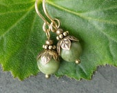 Green Irish earrings genuine Connemara marble drops