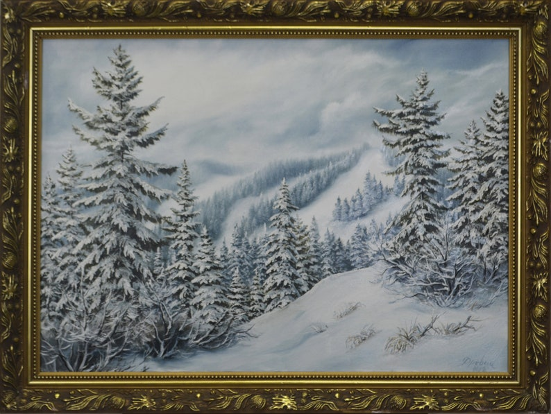 Oil painting on canvas 50x70 Snowy picks nature landscape Original Vintage Handmade Art Single copy From a professional artist