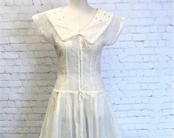 Built in Tie Semi Sheer Unlined Dress Stripes Size Med Vintage Sailor Dress Collar Pleats