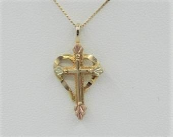 Dainty Vintage Two Tone Black Hills Gold Cross with Leaves Pendant Charm