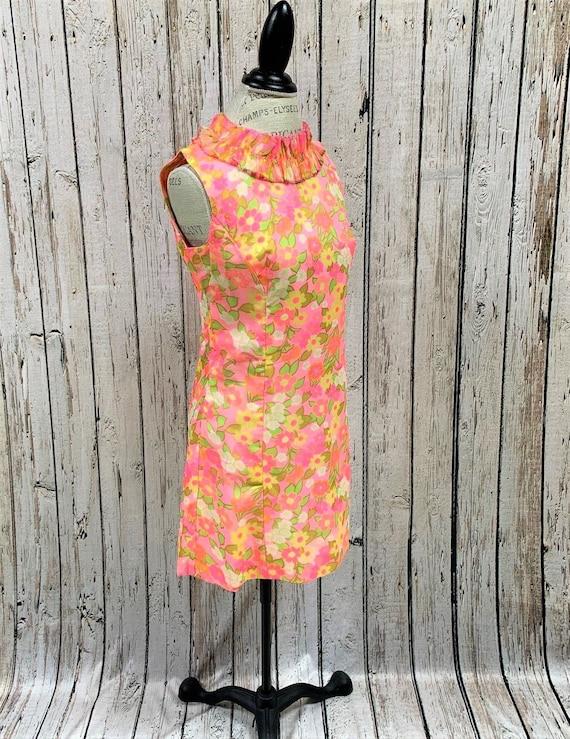 Vintage, 1960, Mod, Floral, Scooter Shift Dress, P