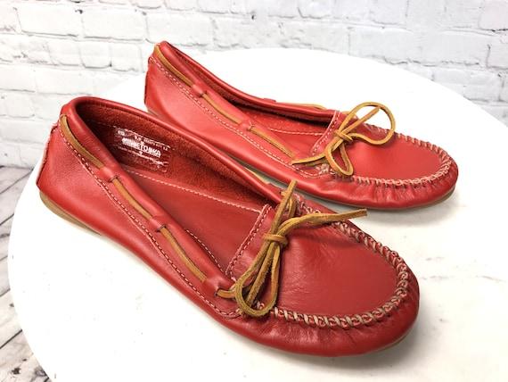 Vintage 1990s, MINNETONKA, Red Moccasins, Red Lea… - image 6