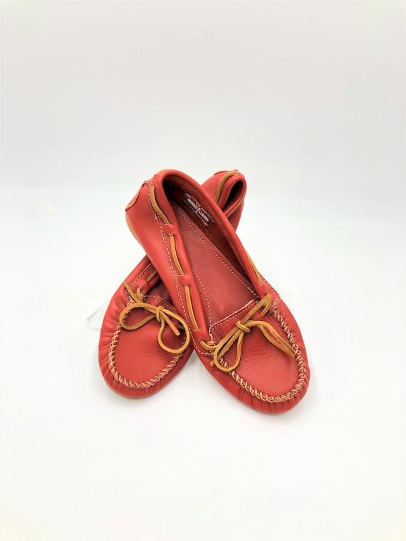 Vintage 1990s, MINNETONKA, Red Moccasins, Red Lea… - image 1