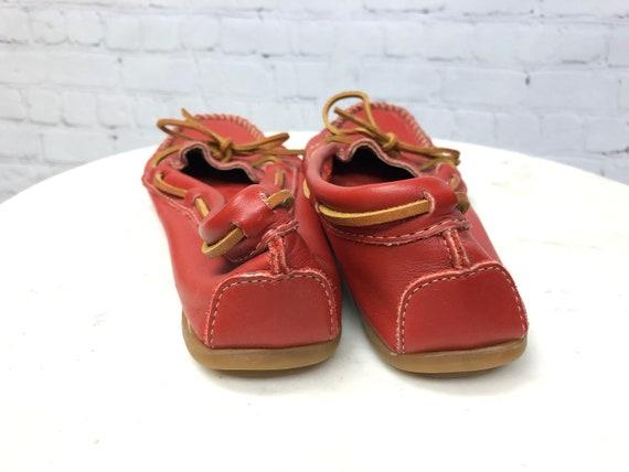 Vintage 1990s, MINNETONKA, Red Moccasins, Red Lea… - image 5