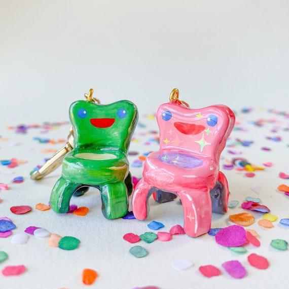 Froggy Chair Keychain Animal Crossing Handmade Bag Charm Frog Etsy
