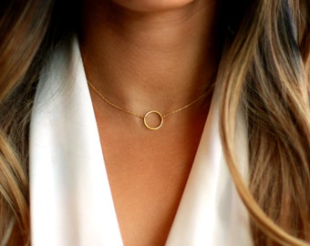 Small Circle Necklace Thin Necklace Tiny Necklace Dainty Gold Necklace Karma Bridesmaids Gift Everyday Necklace Delicate Necklace