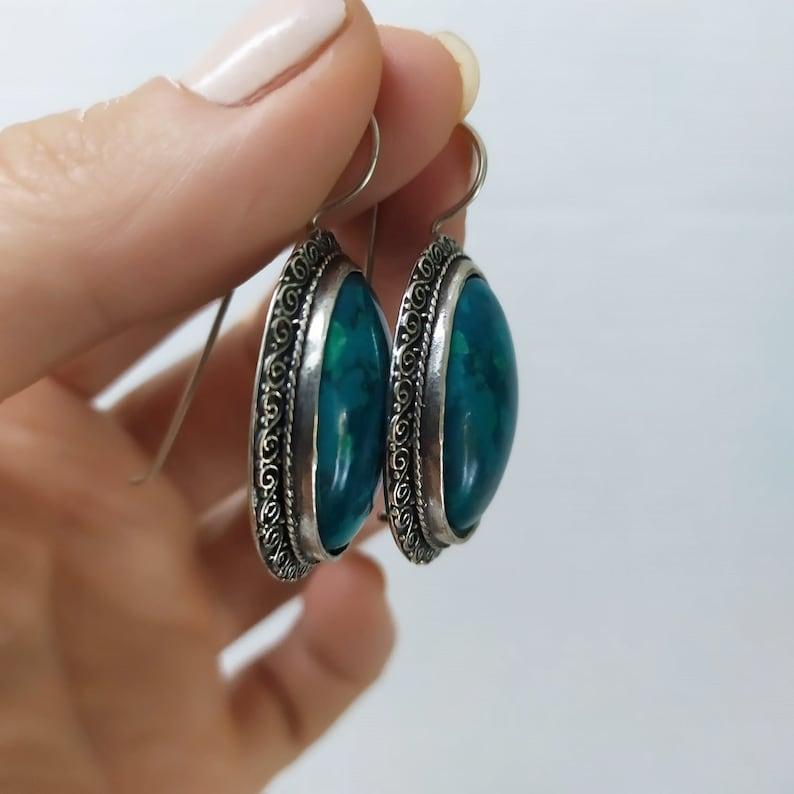 Earrings Vintage style with Eilat stone  Self gift jewelry Chrysocolla stone  Self gift earring  Israeli Talisman king Solomon