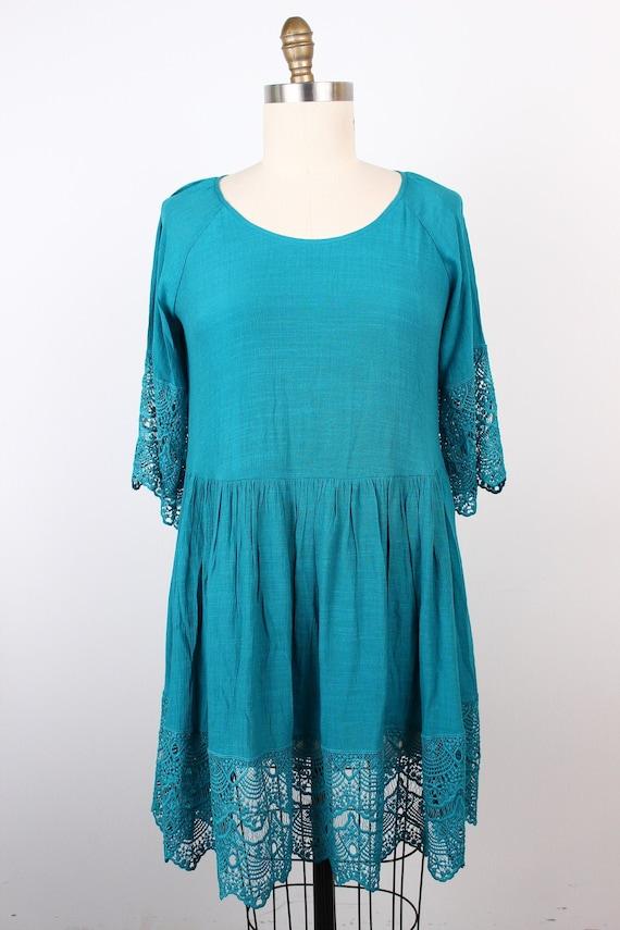 Crochet Hem Raglan Tunic - Aqua Tunic-Crochet Slee