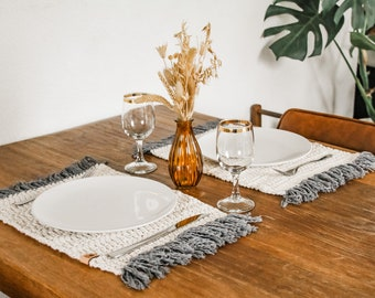 Brown placemats 30x42 cm Fabric placemats Set of 2-12x16 in Linen placemats Rustic wood placemats