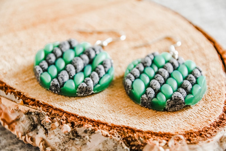 Stone and Teal Knit Fimo Earrings