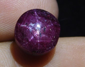 2.4 Cts 100/% Natural Star Ruby Cabochon With 6 Rare Star Top Star Ruby Round Shape Gemstone Size 8x7.5x3.5 mm