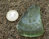 Collectible Craft Quality Large Natural Spanish sea glass piece with letters number Green Yellow Seaglass Bottle bottom fragment 6cm-2,4 quot