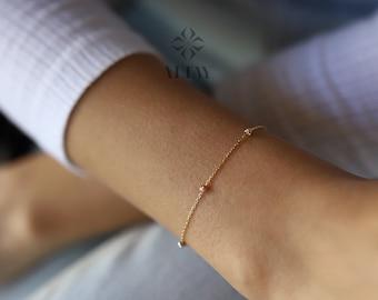 Dorica Ball Multiballs Chain Mini Dorica Balls Bracelet 14k Gold Bead Chain Bracelet Delicate Minimalist Fashion Necklace Gift For Her