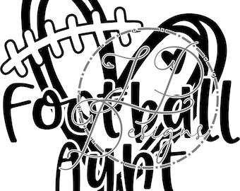 Football Aunt Sketch Heart CDR, PNG, SVG file