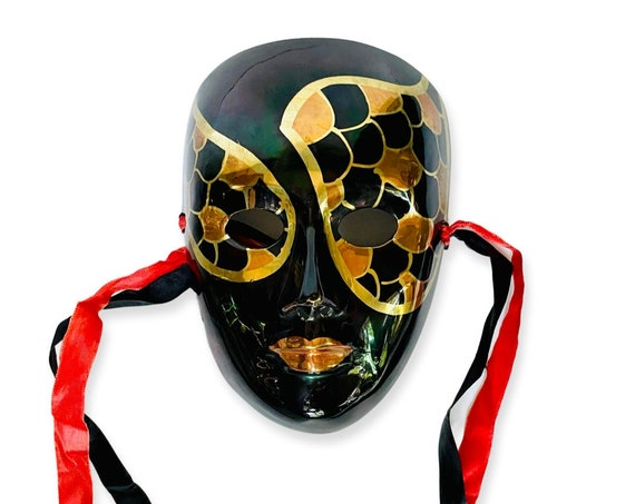 Vintage Solid Brass and Enamel Decorative Mask