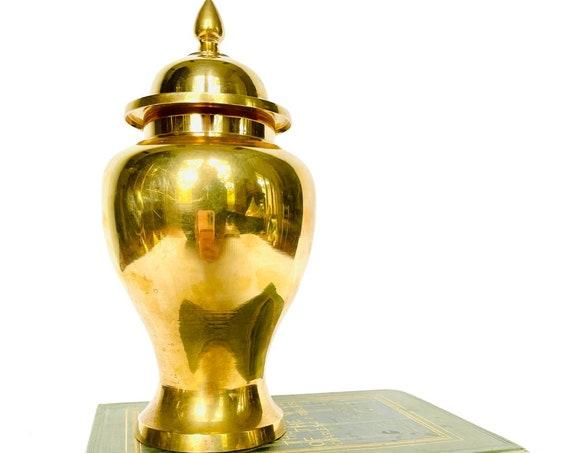 """Vintage Mid-Century Brass 9"""" Temple Jar"""