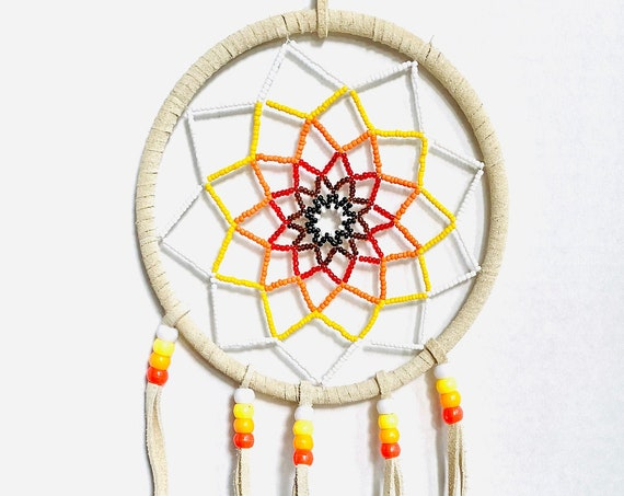 Vintage Beaded Dream Catcher with Feathers