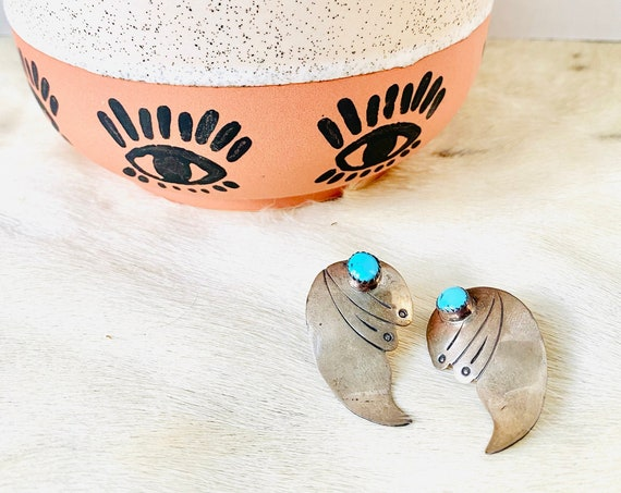 Vintage Native American Sterling Silver and Turquoise Winged Post Earrings